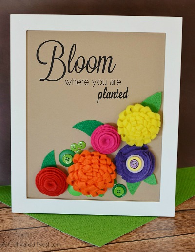 Easy Framed Felt Flower Project