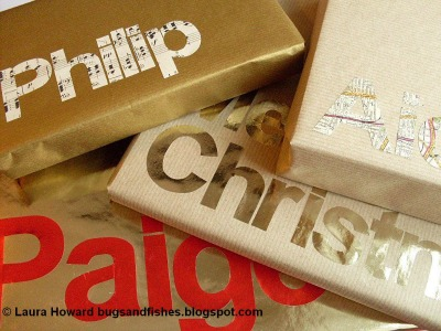 DIY Brown paper typography wrapping paper