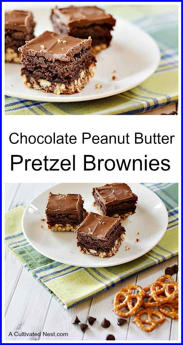 Chocolate Peanut Butter Pretzel Brownies