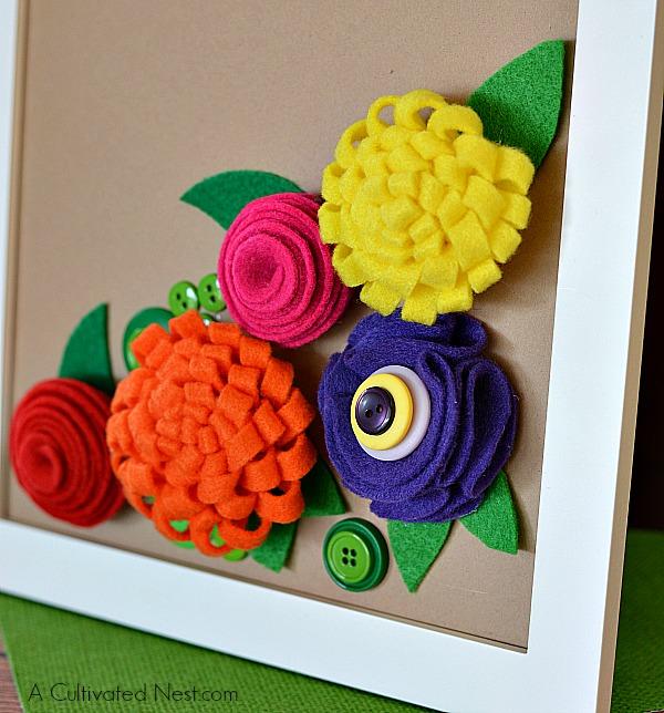 DIY Framed Felt Flower Project