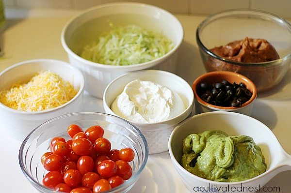 Ingredients needed to make 7 Layer Dip Cups