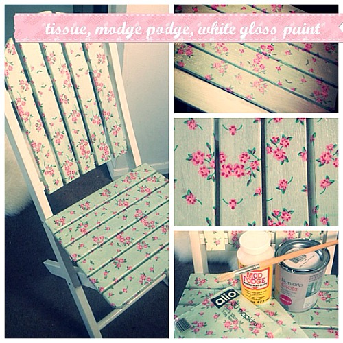 Cute Mod Podge Projects: decoupaged chair