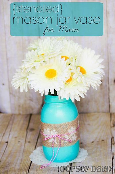 DIY Mother's Day Gifts: make a Stenciled Ribbon Mason Jar Vase