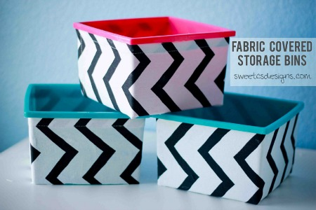 10 No Sew Home Decor Projects: fabric bins