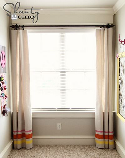 10 No Sew Home Decor Projects: painted drop cloth curtains