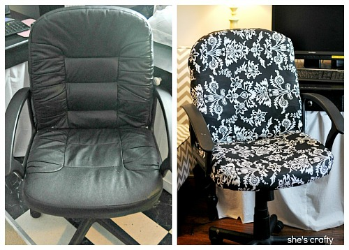 10 No Sew Home Decor Projects: office chair makeover