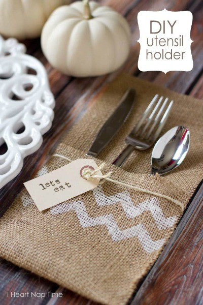 10 No Sew Home Decor Projects: burlap utensil holder