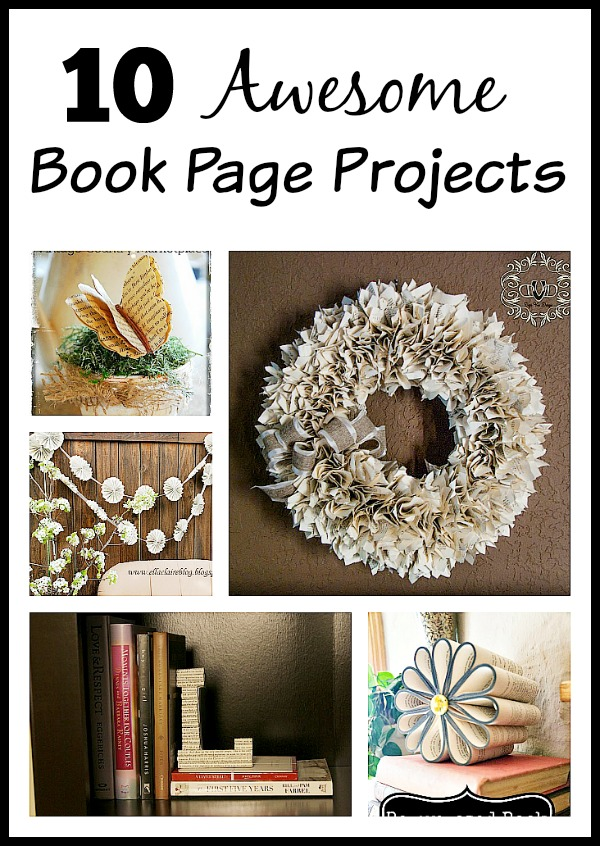10 Awesome Book Page Projects- You'll love these book page projects! The fact that book pages are paper makes them easy to use in a variety of projects, and the text on the pages adds an extra level of visual interest not found in normal solid-color paper. | #diyProjects #crafts #upcycle #repurposeProjects #ACultivatedNest