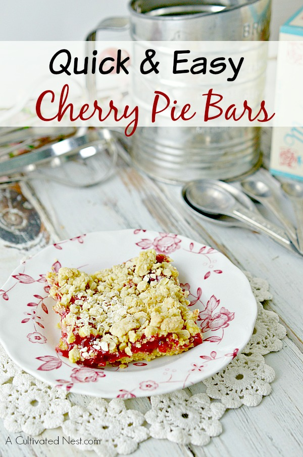 Quick and Easy Cherry Pie Bars