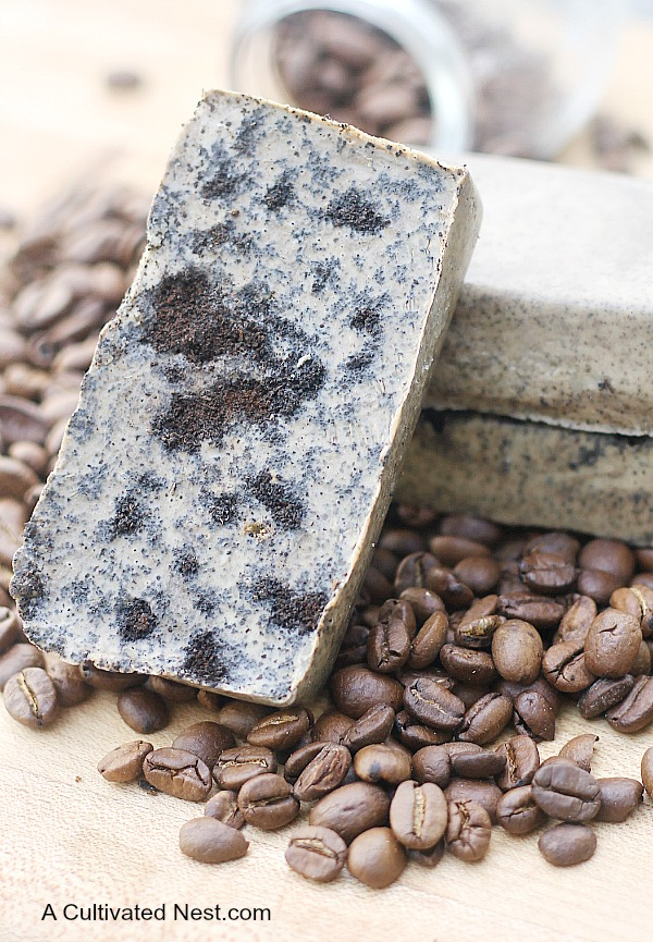 Homemade Coffee & Ginger Soap - easy to make rustic soap that smells amazing and is also exfoliating!