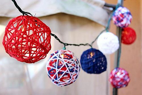 15 Patriotic DIY Home Decor Prjects: DIY Patriotic String Lights