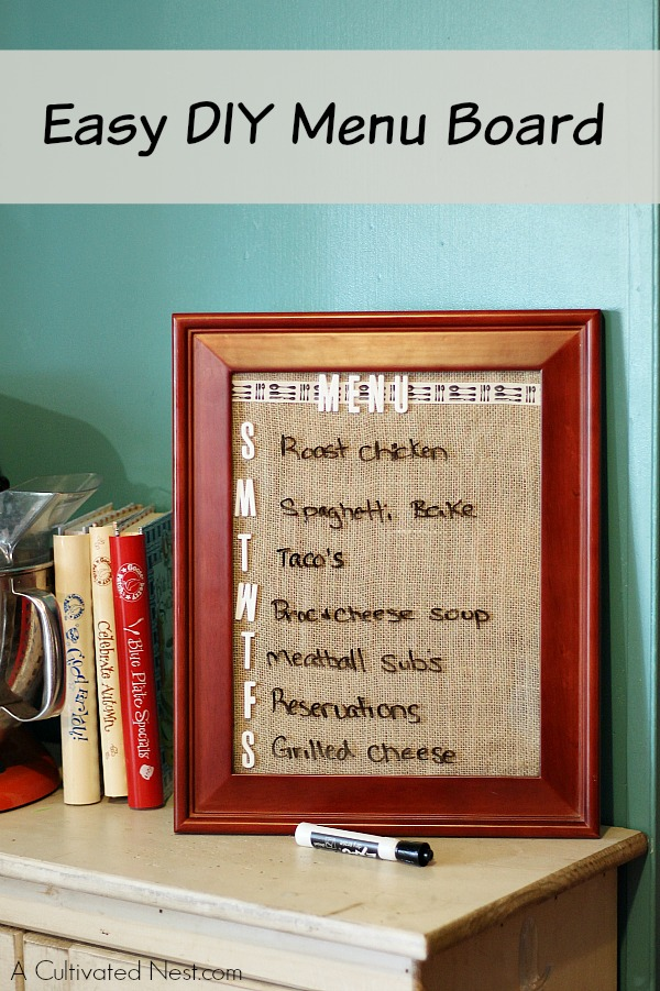 DIY Menu Planning Board - so easy to make and great way to keep track ...
