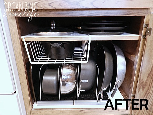 10 Awesome Tips for Organizing Your Pots and Pans- Tired of your pots and pans always being unorganized? You need to check out these handy tips for organizing pots and pans! | #kitchenOrganization #organizingTips #organizationIdeas #organize #ACultivatedNest
