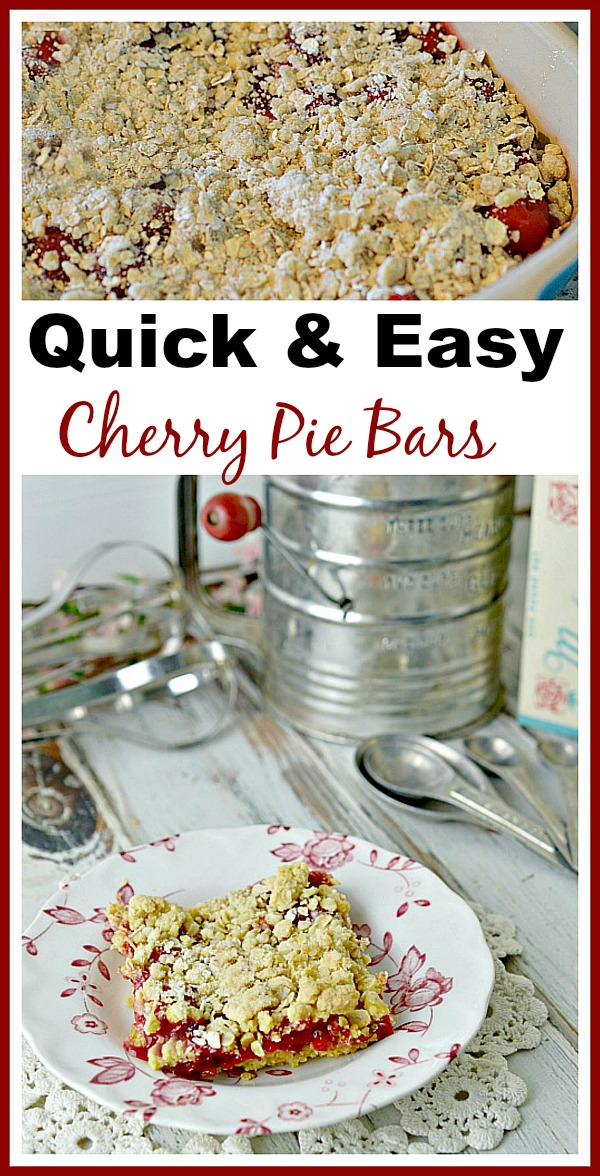 Quick & Easy Cherry Pie Bar Recipe. Only 4 ingredients!