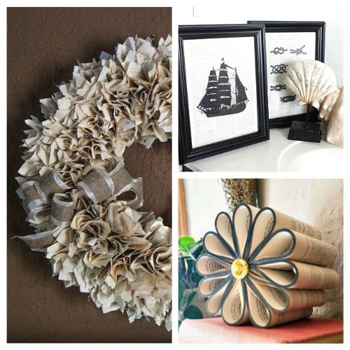 12 Awesome Book Page Projects- Do you love repurposing old things into something new and pretty? Then you'll love these book page projects! | book upcycle projects, #upcycle #repurpose #recycle #diyProjects #ACultivatedNest