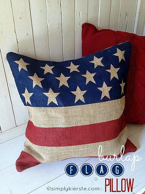 15 Patriotic DIY Home Decor Prjects: Burlap Flag Pillow