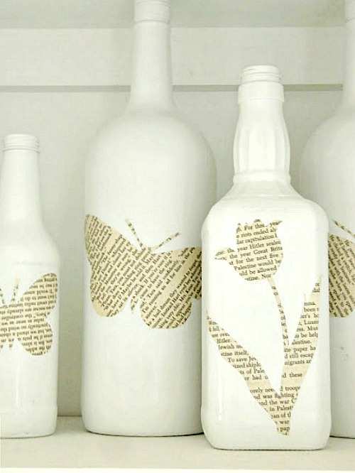 10 Awesome Book Page Projects: DIY book page silhouette bottles