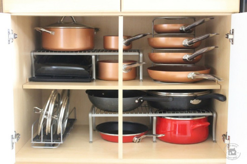 10 Awesome Pot and Pan Organization Ideas- Tired of your pots and pans always being unorganized? You need to check out these handy tips for organizing pots and pans! | #kitchenOrganization #organizingTips #organizationIdeas #organize #ACultivatedNest