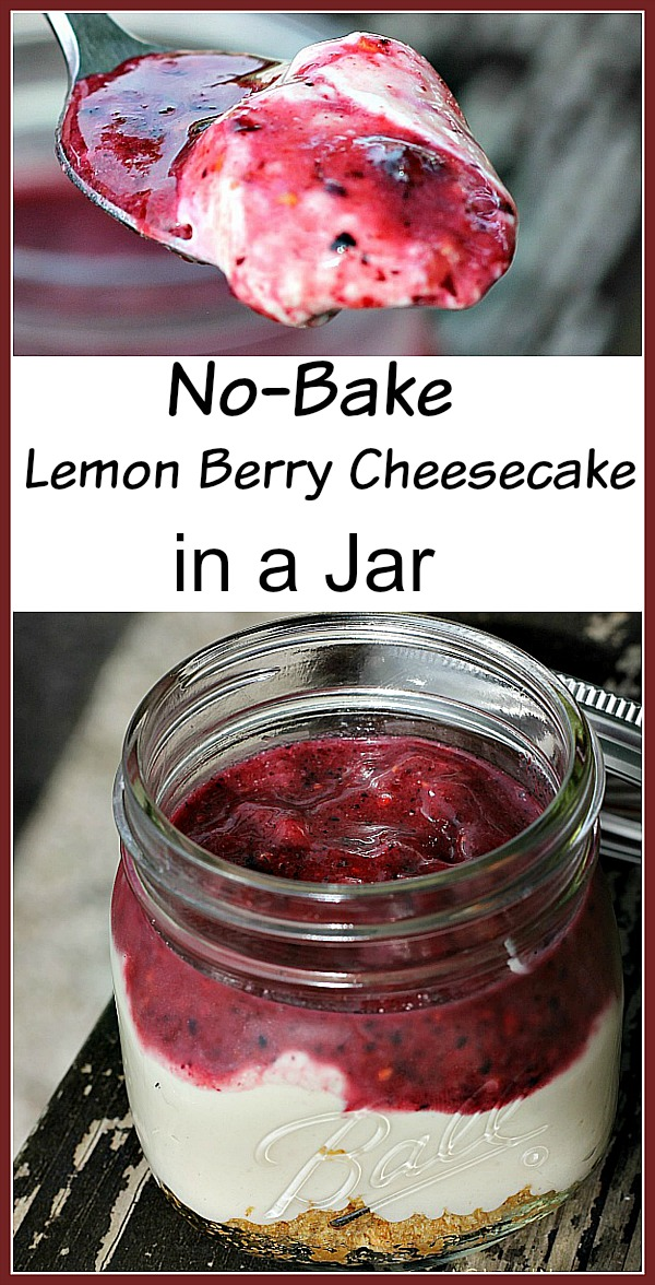 Mini Lemon Berry Cheesecake In A Jar. So easy to make and great for parties!