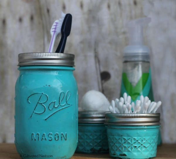 painted mason jar bathroom organizer