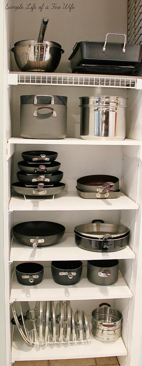 10 Awesome Kitchen Organization Tips for Your Pots and Pans- Tired of your pots and pans always being unorganized? You need to check out these handy tips for organizing pots and pans! | #kitchenOrganization #organizingTips #organizationIdeas #organize #ACultivatedNest