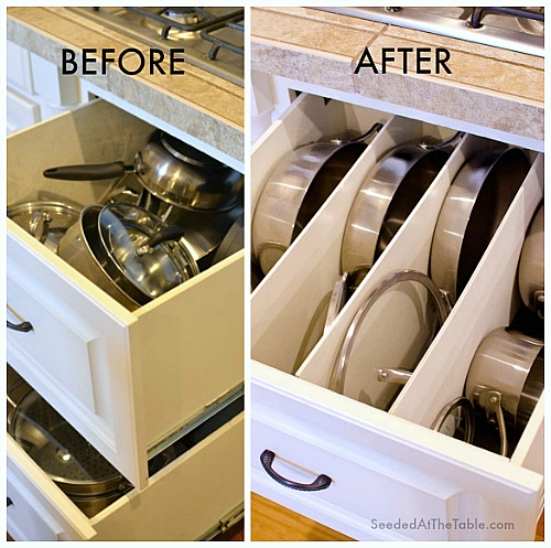 tips for organizing pots and pans,