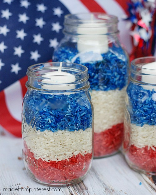 15 patriotic diy home decor projects patriotic mason jar candles - Diy Home Decor Projects
