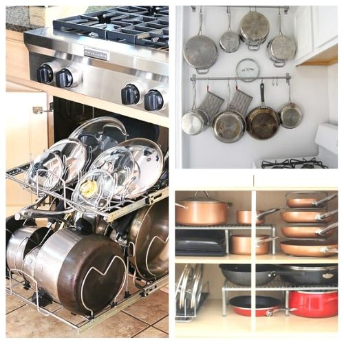 10 Awesome Tips for Organizing Pots and Pans- Tired of your pots and pans always being unorganized? You need to check out these handy tips for organizing pots and pans! | #kitchenOrganization #organizingTips #organizationIdeas #organize #ACultivatedNest