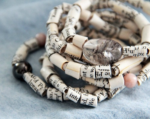 10 Awesome Book Page Projects: Upcycled book page bracelet craft