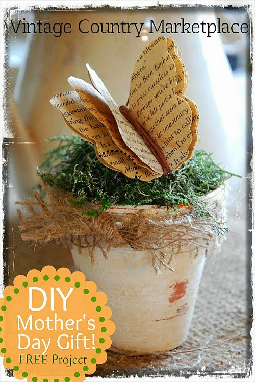 10 Awesome Book Page Projects: upcycled-book-page-butterfly-pot-project