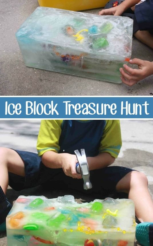 10 Summer Outdoor Activities for kids - ice block treasure hunt