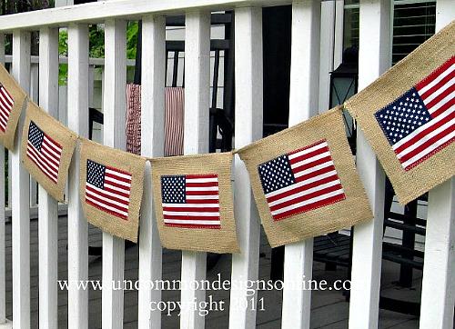4th of July Burlap Flag Banner DIY
