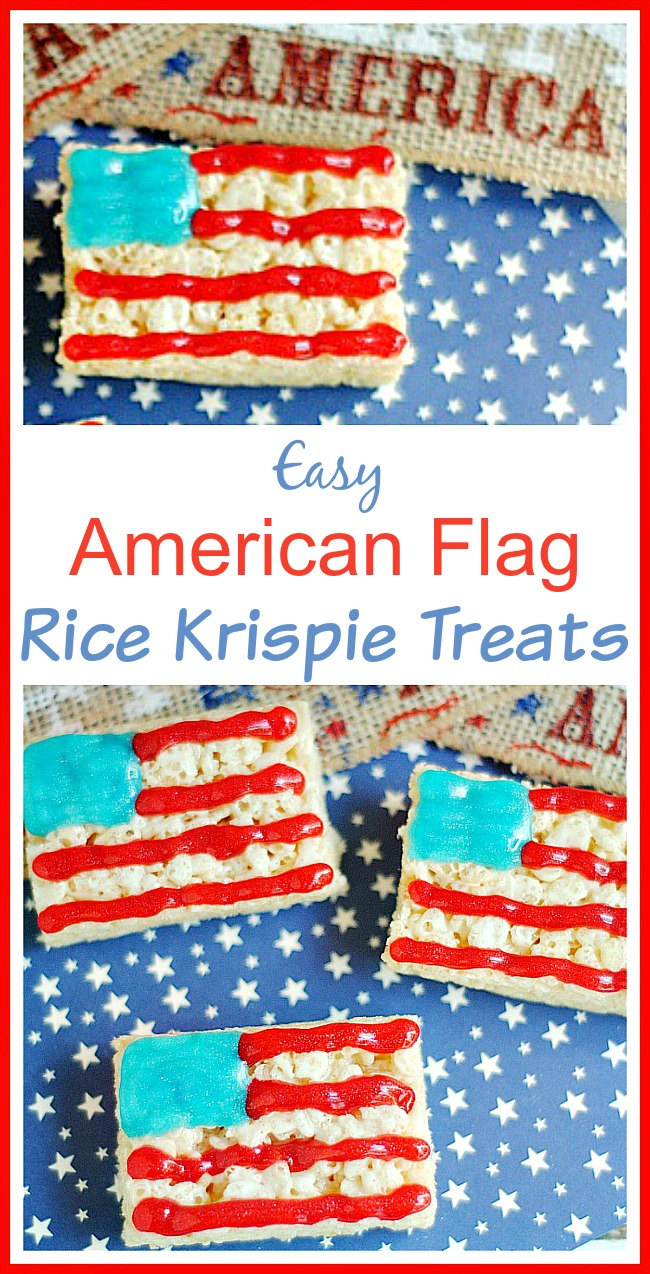 Easy American Flag Rice Krispie Treats