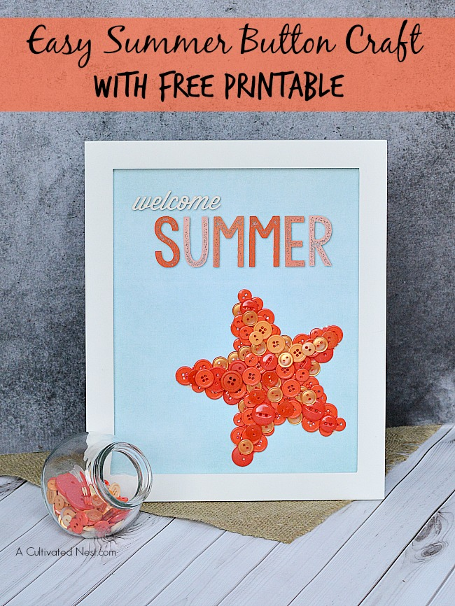Easy Welcome Summer Starfish Button Craft with Free Printable