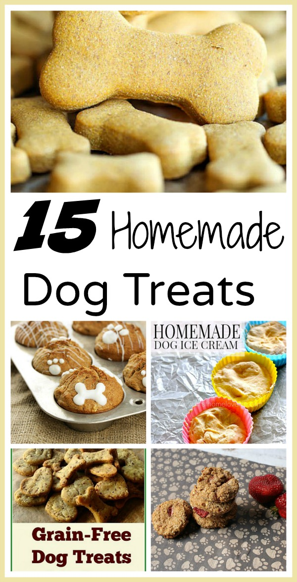 15 Homemade Dog Treats- Making DIY dog treats is easy, saves you money, and gives you peace of mind since you know exactly what your dog's eating! Check out these 15 delicious homemade dog treats you can make for your furry friend! | #DIY #dogs #homemade #dogTreatRecipes #ACultivatedNest