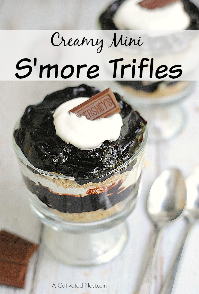 Creamy & indulgent mini S'more Trifles. Easy to make and a sophisticated way to serve this loved campfire treat!