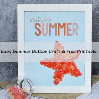 Easy Summer Button Starfish Craft & Printable