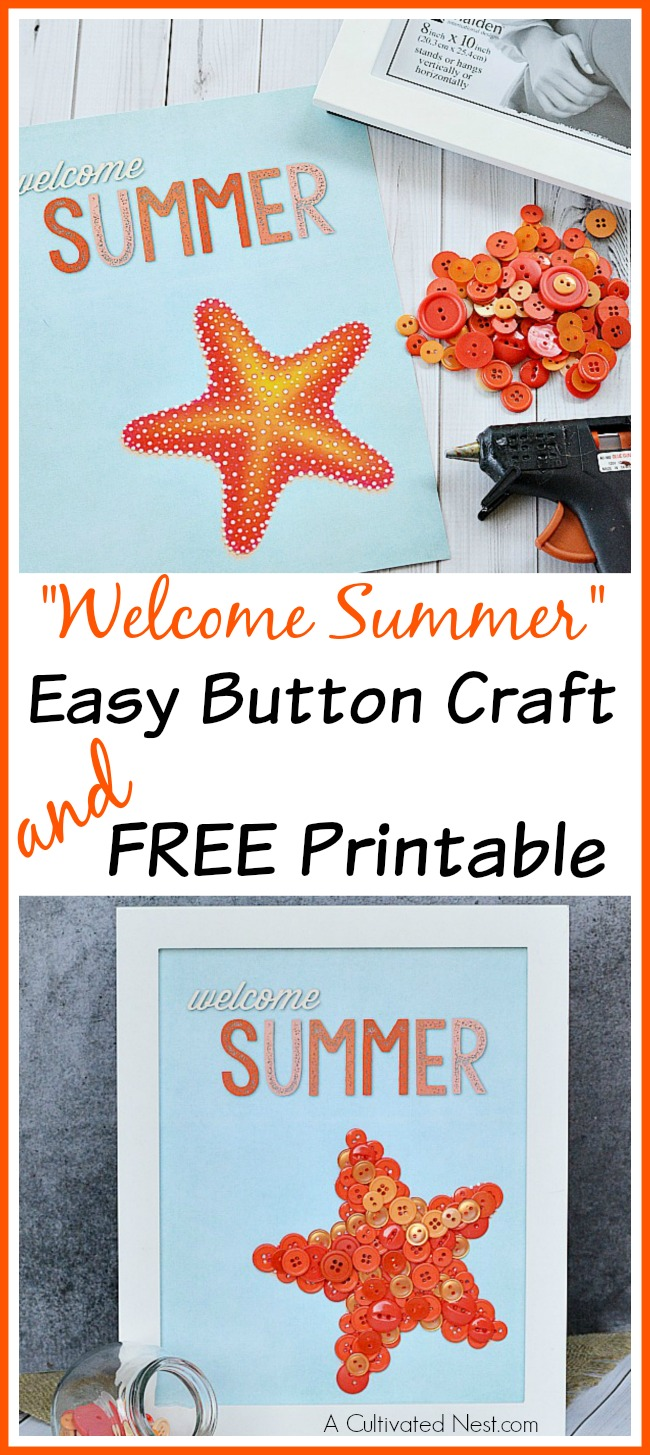 Easy Summer Button Starfish Craft & Printable- This easy starfish summer button craft includes a free printable that you can use as-is, or you can fill the starfish in with buttons like I did. Either way, it creates a cute, inexpensive piece of DIY summer decor! | craft for kids, summer decor, wall art, #DIY #craft #summer #buttonCraft #starfish #kidsCraft #decor #wallArt #freePrintable #printable