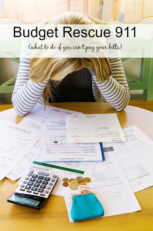 Budget Rescue 911 | What to do when you can't pay your bills-check out these strategies for getting through that tough time. Before too long, with enough planning and saving, you'll be able to pay your bills and be out of budget rescue mode. #budget #debtpayoff #frugallivingtips