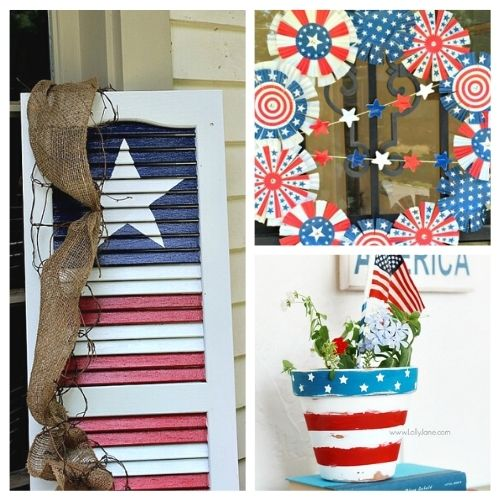 12 Cute DIY Patriotic Outdoor Decorations- These 12 cute DIY patriotic outdoor decorations ideas will turn your ordinary yard or front porch into the festive place to be! | Fourth of July decorations, Memorial Day decorations, flag themed décor #FourthOfJuly #MemorialDay #DIY #patrioticDecor #ACultivatedNest