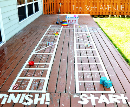 Summer Activity - make your deck or patio a game board