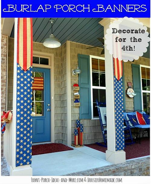 10 Cute DIY Patriotic Outdoor Decorations: DIY Patriotic Burlap Porch Banners