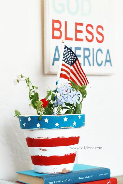 DIY Patriotic Flower Pot Tutorial