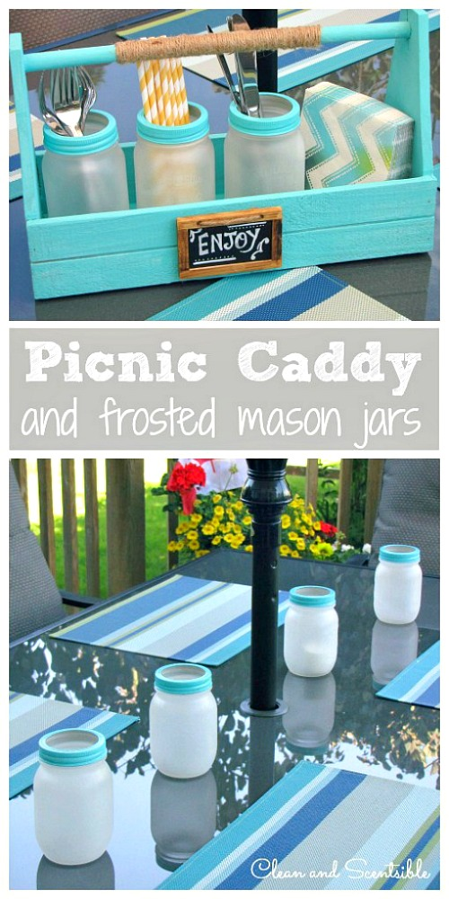 DIY picnic caddy and frosted Mason jars | Check out these 10 Summer Mason Jar Craft Ideas for fun ideas for what to do with your Mason jars this summer!