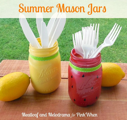 DIY summer watermelon and lemon Mason jars