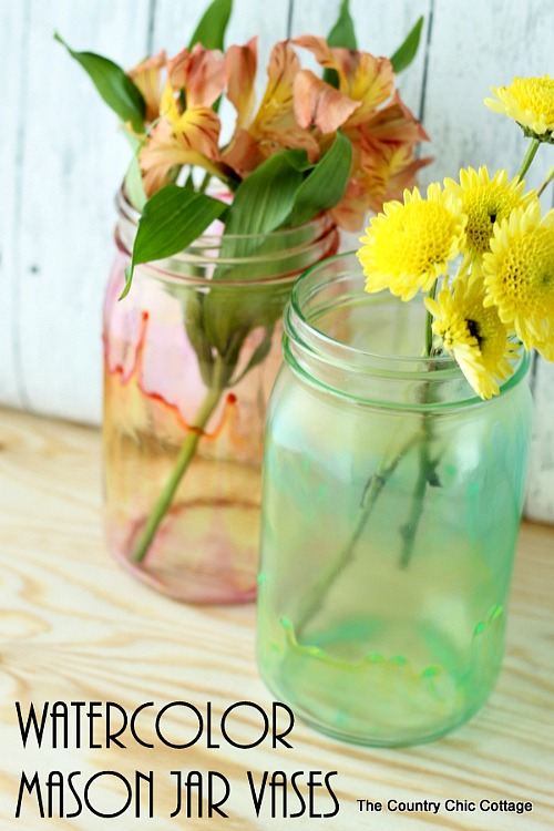 10 Summer Mason Jar Craft Ideas like these DIY watercolor Mason jar vases