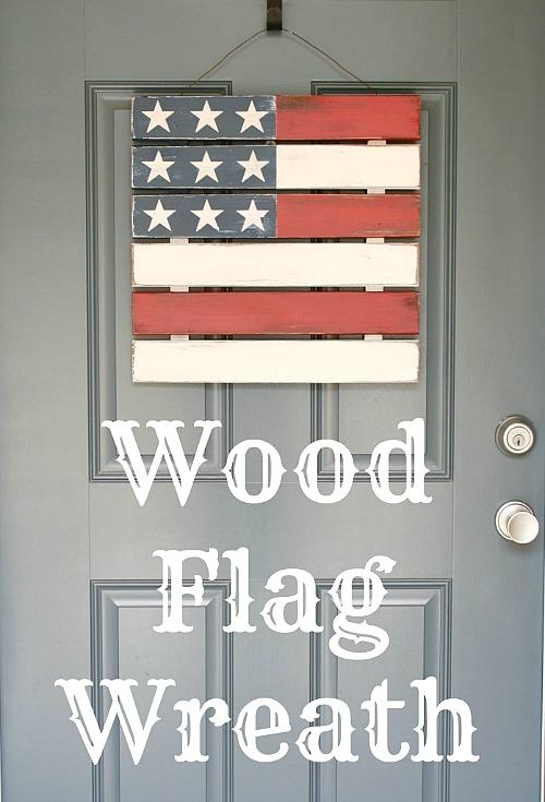 10 Cute DIY Patriotic Outdoor Decorations: DIY Wood Flag Wreath