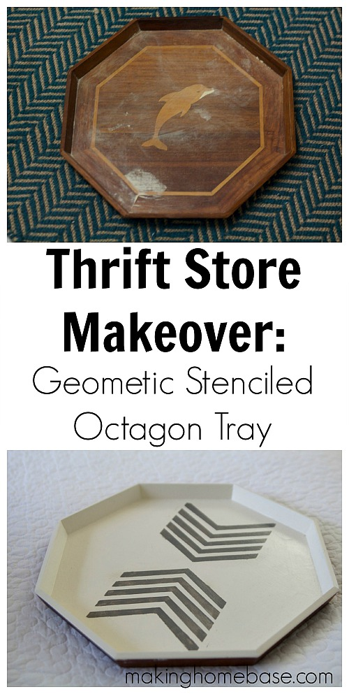 10 Inspiring Thrift Store Makeovers - geometric-stenciled-octagon-tray-thrift-store-makeover