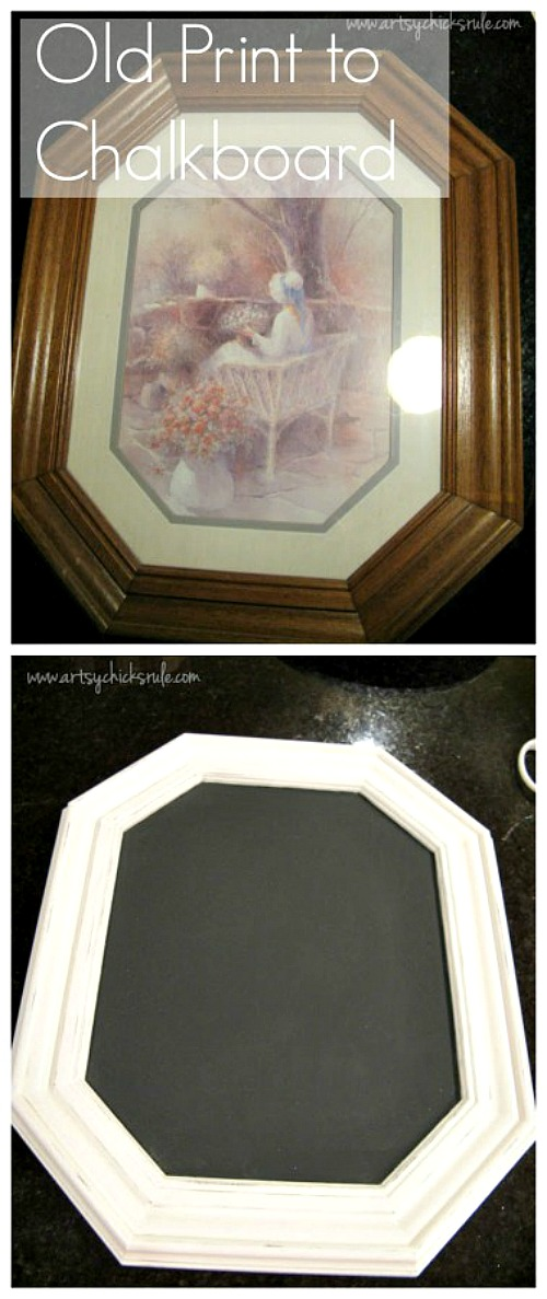 10 Inspiring Thrift Store Makeovers - old-art-print-to-chalkboard-thrift-store-makeover