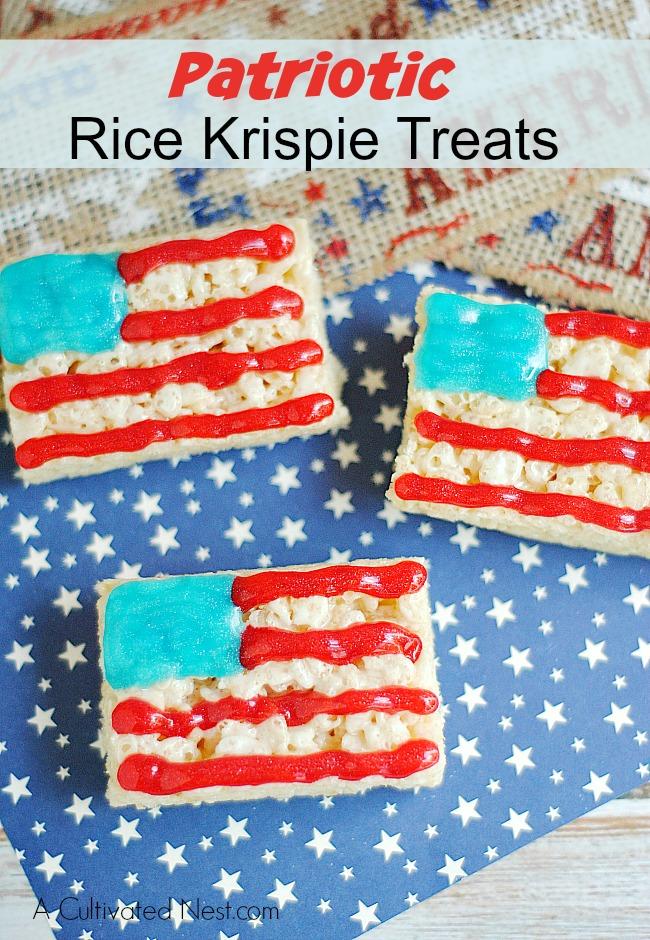 American Flag Rice Krispie Treats